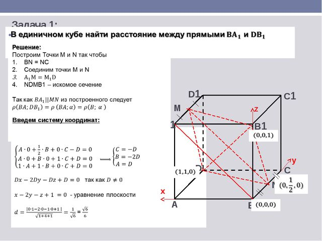 C А B D А1 B1 C1 D1 N M Задача 1: Введем систему координат: x y z