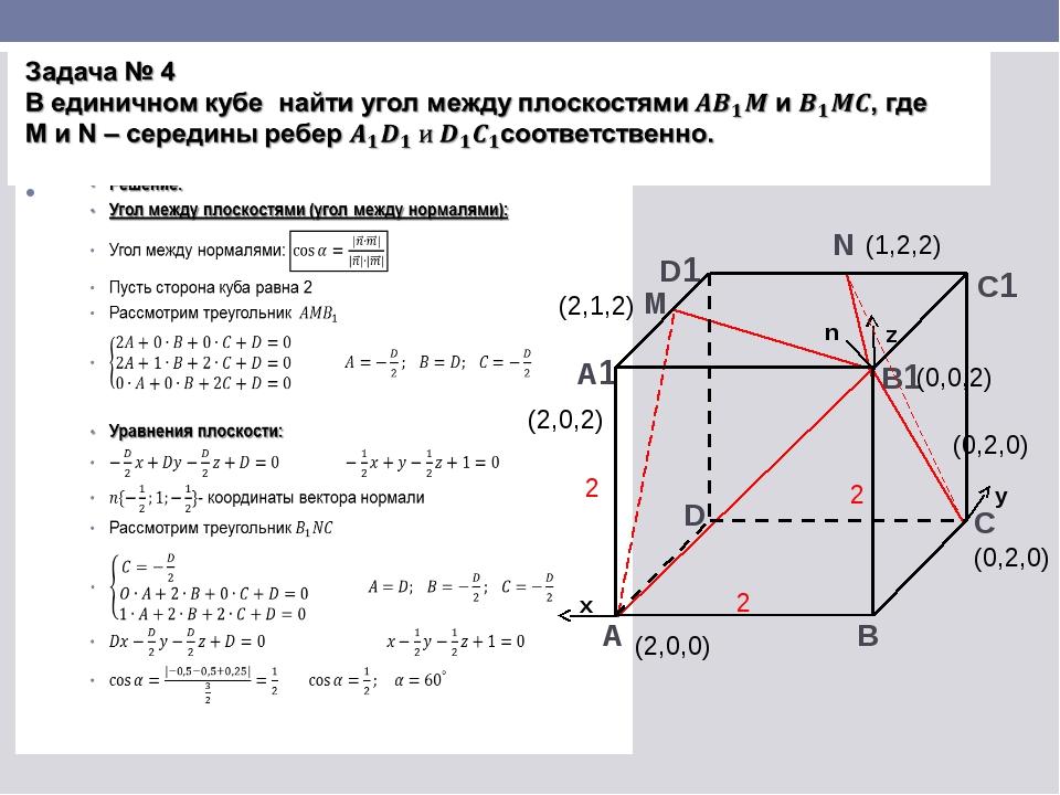 А1 А B D B1 C1 D1 C x y z M N n (0,0,2) (2,1,2) (0,2,0) (2,0,0) (1,2,2) (0,2,...