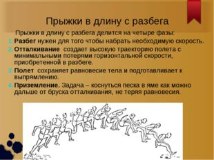 Прыжки в длину с разбега Прыжки в длину с разбега делится на четыре фазы: Раз
