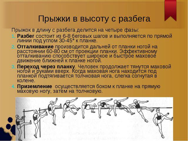 Прыжки в высоту с разбега Прыжок в длину с разбега делится на четыре фазы: Ра...