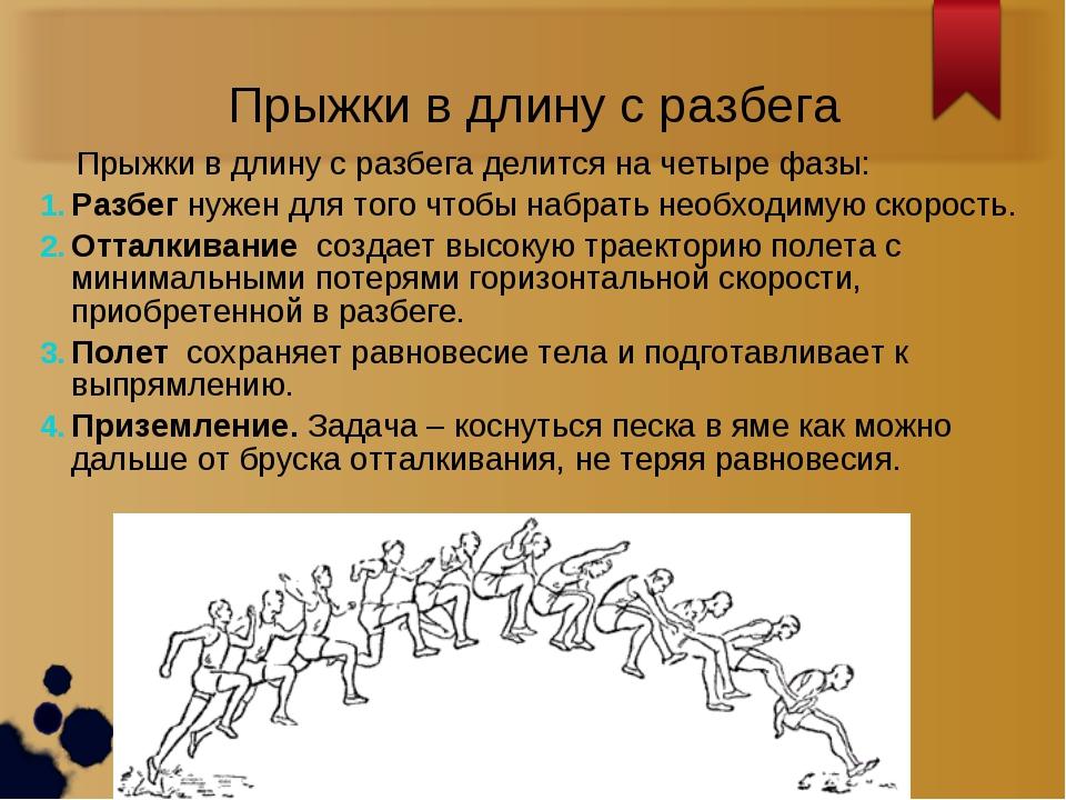 Прыжки в длину с разбега Прыжки в длину с разбега делится на четыре фазы: Раз...