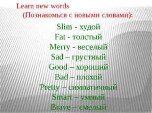Slim - худой Fat - толстый Merry - веселый Sad – грустный Good – хороший Bad