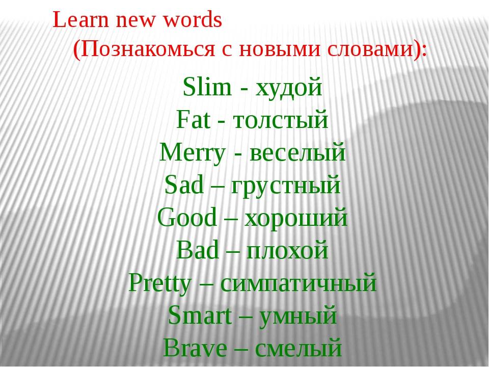 Slim - худой Fat - толстый Merry - веселый Sad – грустный Good – хороший Bad...