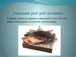 Значение рыб для человека Главная ценность промысловых рыб в том, что они оче