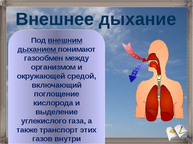Под внешним дыханием понимают газообмен между организмом и окружающей средой,...