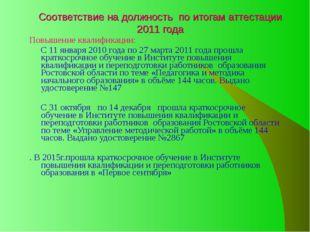Соответствие на должность по итогам аттестации 2011 года Повышение квалификац