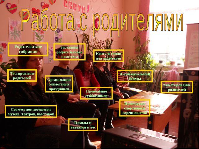 Родительские собрания Заседания родительского комитета Консультации для родит...
