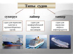 Типы судов сухогруз лайнер танкер судно для перевозки сыпучих и крупногабарит