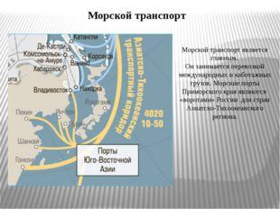Транспорт Приморского края В Приморском крае развиты все виды транспорта: