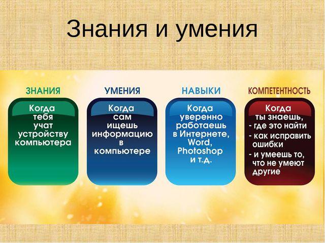 Знания и умения