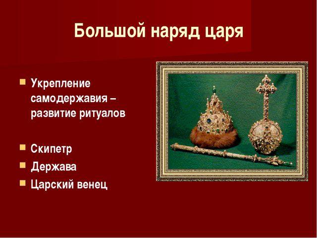 Большой наряд царя Укрепление самодержавия – развитие ритуалов Скипетр Держав...