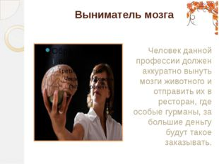 Выниматель мозга Человек данной профессии должен аккуратно вынуть мозги живот
