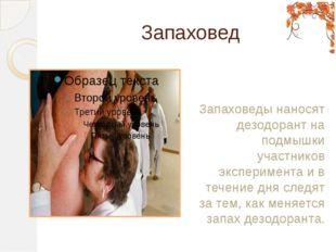 Запаховед Запаховеды наносят дезодорант на подмышки участников эксперимента и