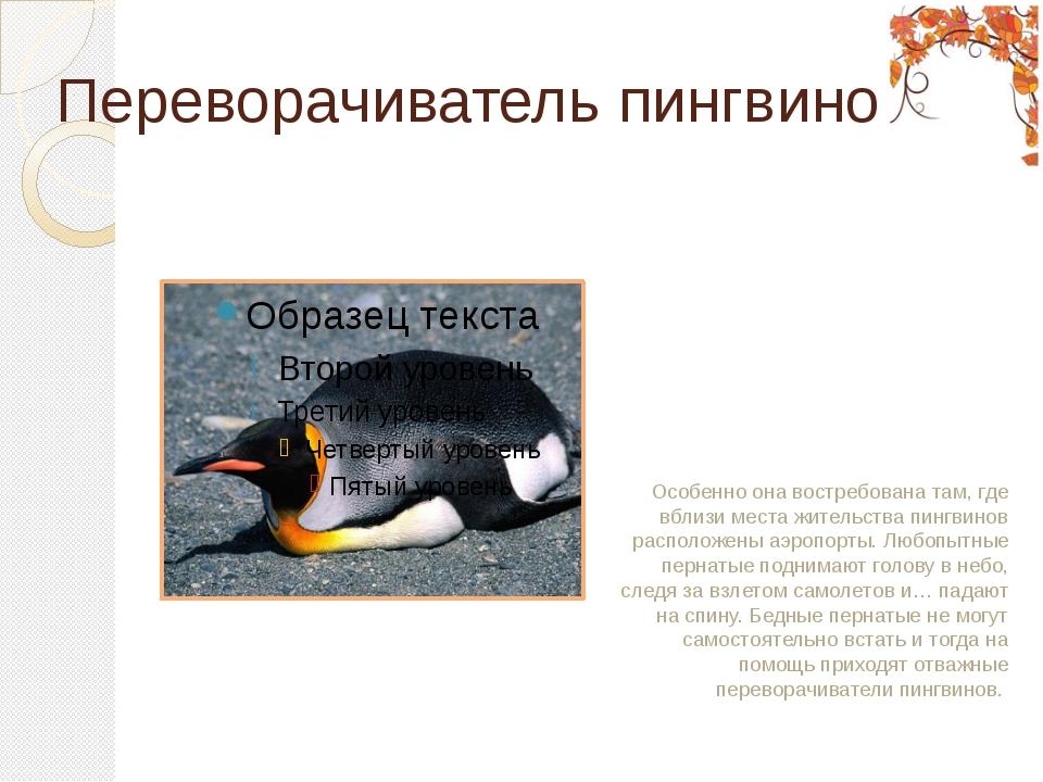 Переворачиватель пингвинов Особенно она востребована там, где вблизи места жи...