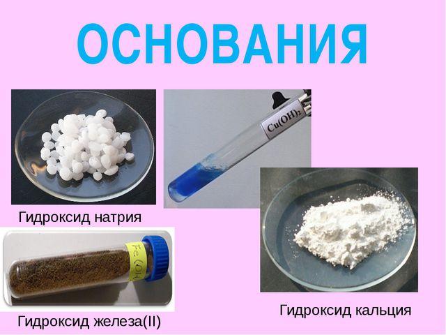 ОСНОВАНИЯ Гидроксид натрия Гидроксид железа(II) Гидроксид кальция