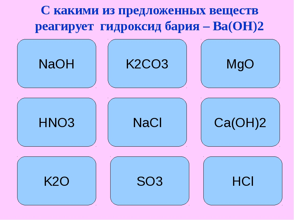 С какими из предложенных веществ реагирует гидроксид бария – Ba(OH)2 K2CO3 Mg...
