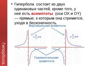 Гипербола Гипербола состоит из двух одинаковых частей, кроме того, у неё есть