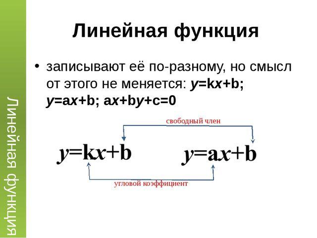 Линейная функция записывают её по-разному, но смысл от этого не меняется: y=k...