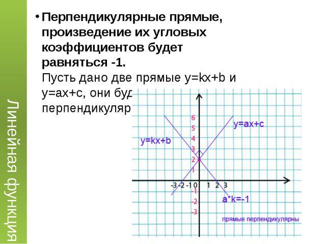 Перпендикулярные прямые, произведение их угловых коэффициентов будет равнятьс...