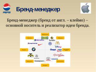 Бренд-менеджер Бренд-менеджер (бренд от англ. – клеймо) – основной носитель