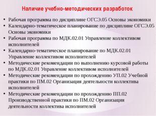 Наличие учебно-методических разработок Рабочая программа по дисциплине ОГСЭ.0