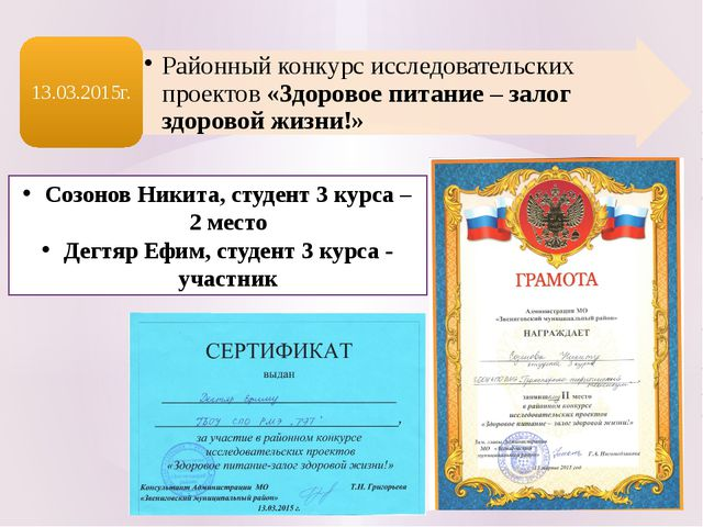 Созонов Никита, студент 3 курса – 2 место Дегтяр Ефим, студент 3 курса - учас...