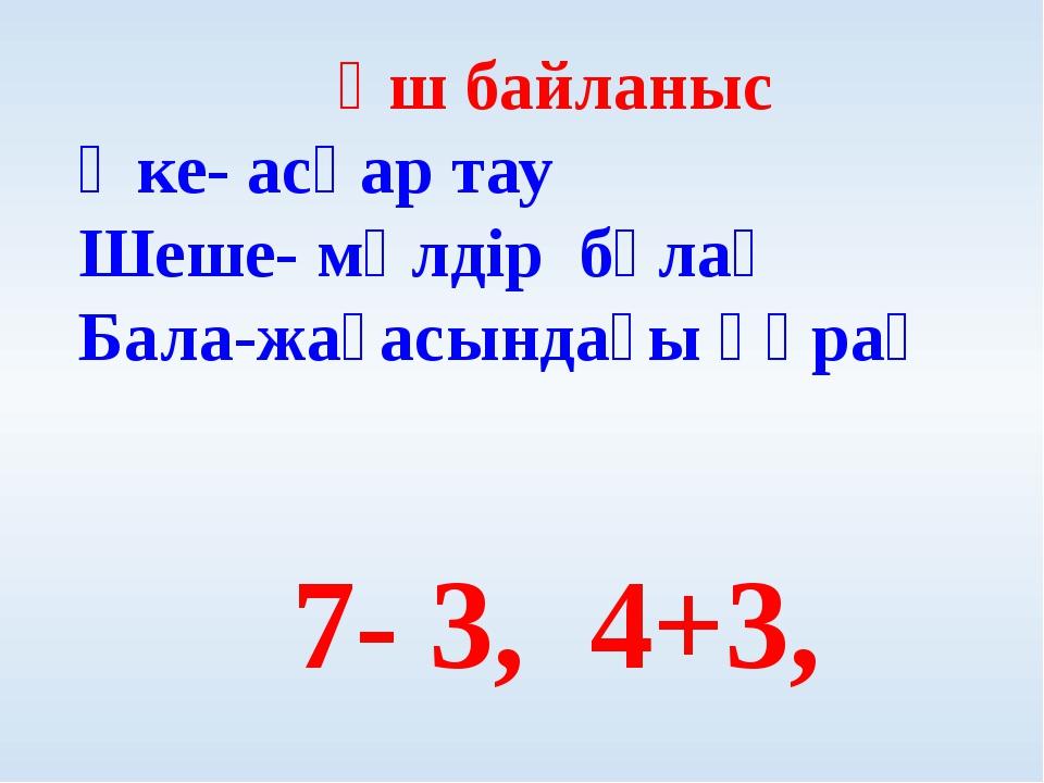 Үш байланыс Әке- асқар тау Шеше- мөлдір бұлақ Бала-жағасындағы құрақ 7- 3, 4+3,