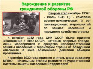 4 октября 1932 года СНК СССР было принято «Положение о ПВО СССР», которым впе