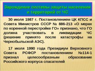 Зарождение системы защиты населения и территорий от ЧС 30 июля 1987 г. Постан