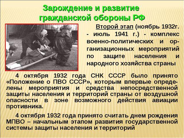 4 октября 1932 года СНК СССР было принято «Положение о ПВО СССР», которым впе...