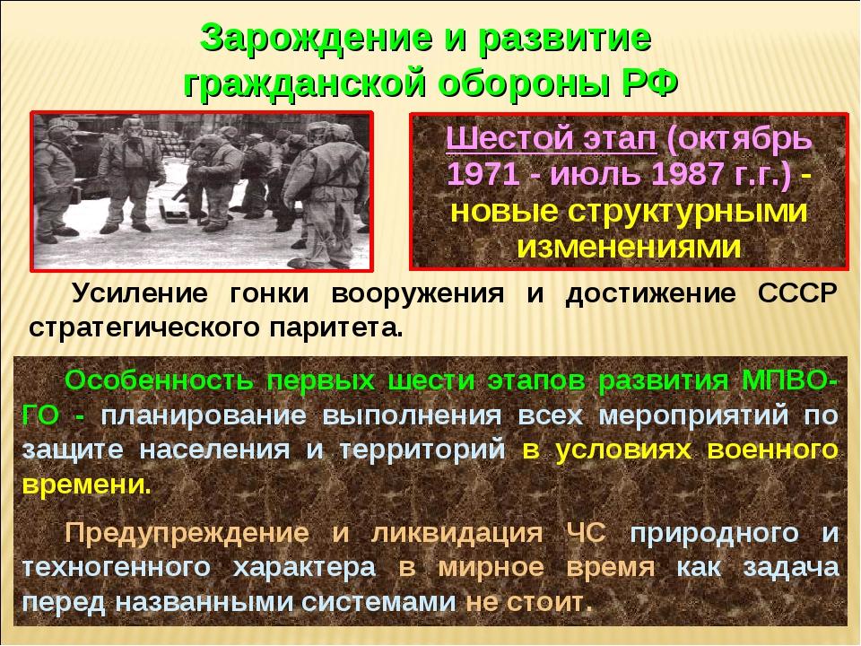 Шестой этап (октябрь 1971 - июль 1987 г.г.) - новые структурными изменениями...