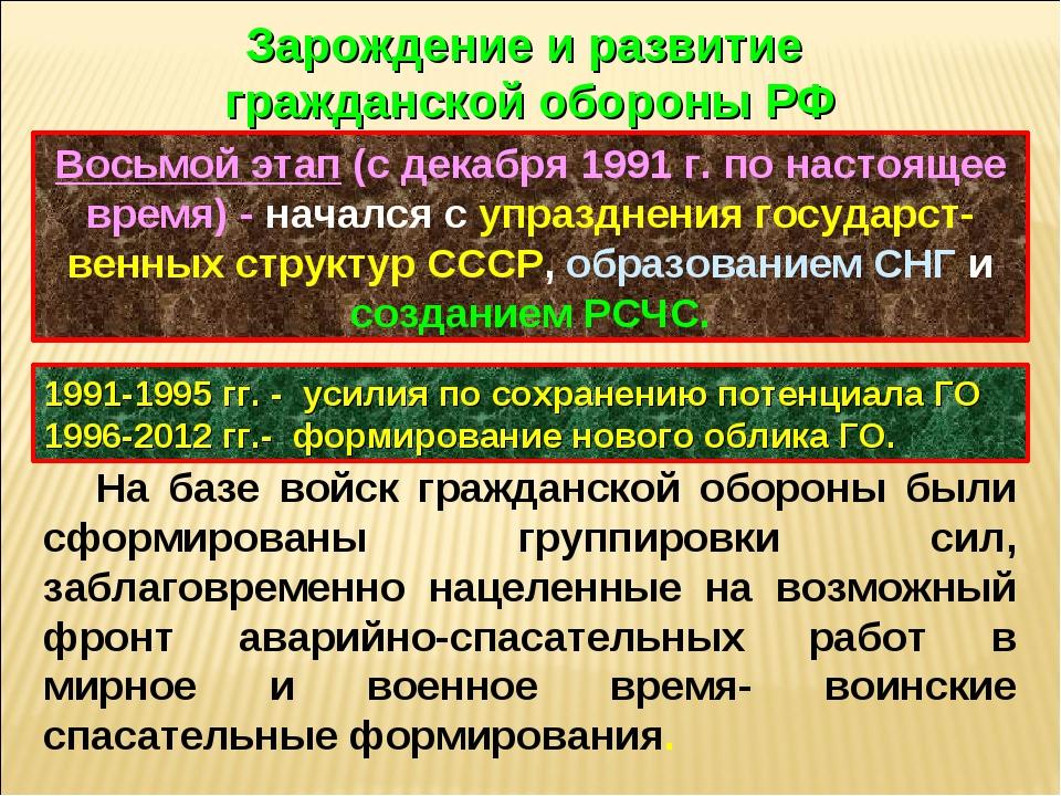 Восьмой этап (с декабря 1991 г. по настоящее время) - начался с упразднения г...