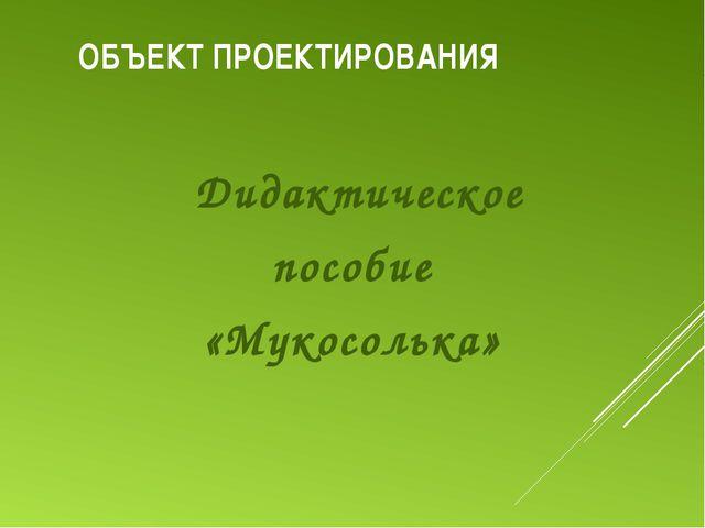 ОБЪЕКТ ПРОЕКТИРОВАНИЯ Дидактическое пособие «Мукосолька»