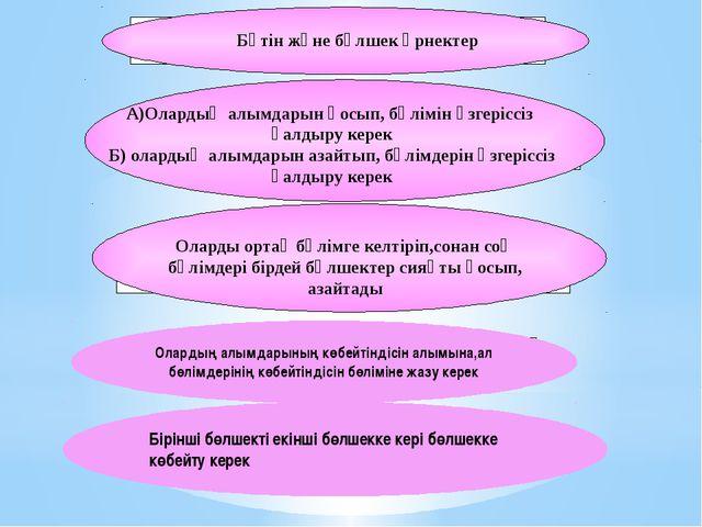 А)Олардың алымдарын қосып, бөлімін өзгеріссіз қалдыру керек Б) олардың алымда...