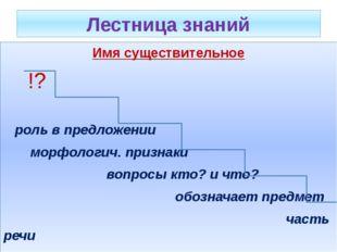Лестница знаний Имя существительное !? роль в предложении морфологич. признак