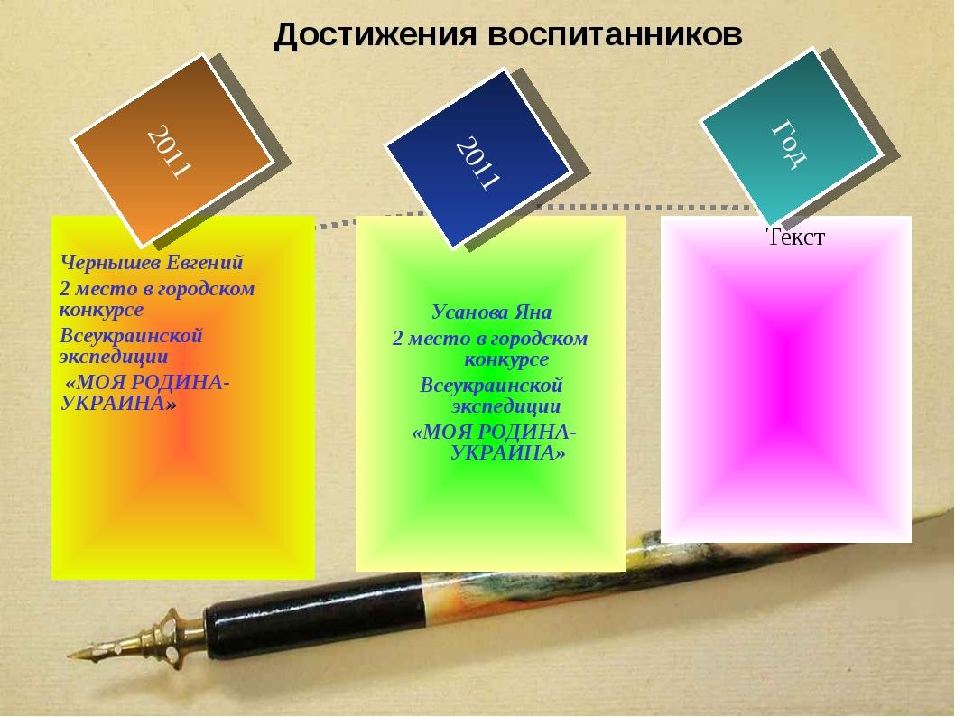 Достижения воспитанников Текст Чернышев Евгений 2 место в городском конкурсе...