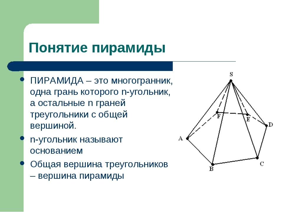 Понятие пирамиды ПИРАМИДА – это многогранник, одна грань которого n-угольник,...