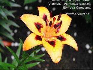 Презентацию подготовила учитель начальных классов Долгова Светлана Александро