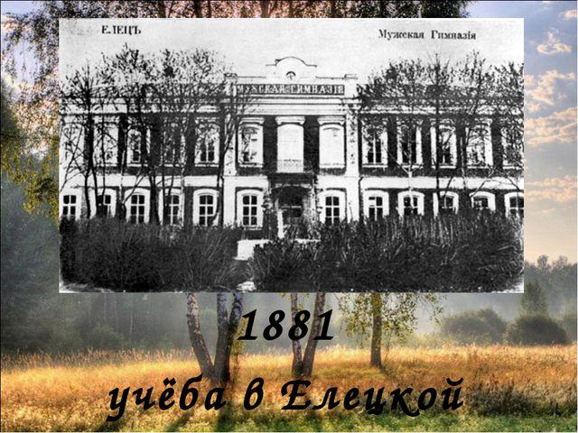 1881 учёба в Елецкой гимназии