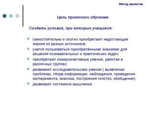 Метод проектов Цель проектного обучения Создать условия, при которых учащиеся