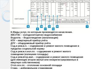 8. Виды услуг, по которым производятся начисления. ХВС/ГВС – холодное/горяче