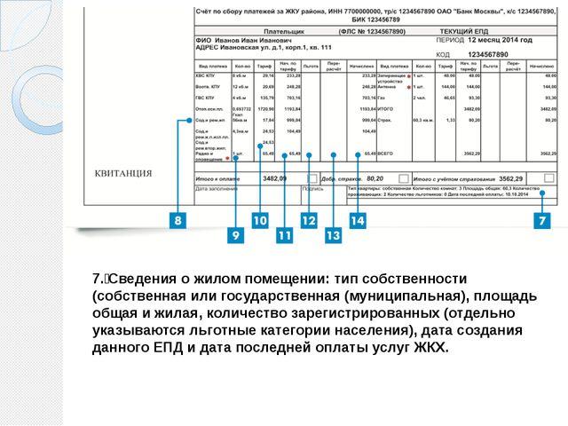 7. Сведения о жилом помещении: тип собственности (собственная или государств...