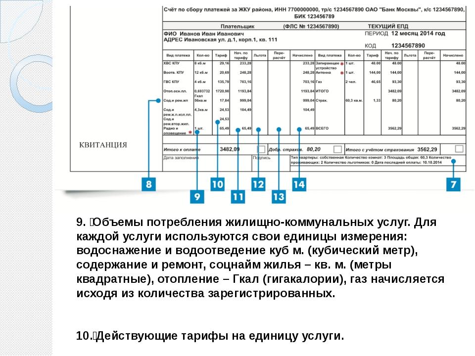 9.  Объемы потребления жилищно-коммунальных услуг. Для каждой услуги использ...
