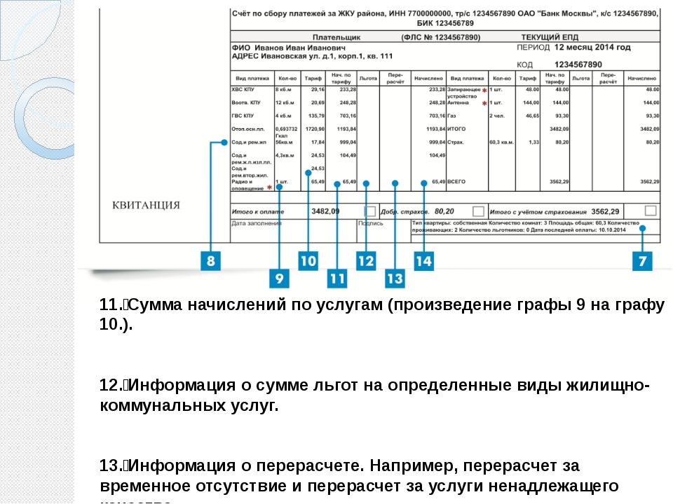 11. Сумма начислений по услугам (произведение графы 9 на графу 10.). 12. Ин...