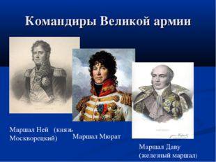 Командиры Великой армии Маршал Ней (князь Москворецкий) Маршал Мюрат Маршал Д