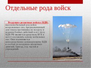 Воздушно-десантные войска (ВДВ), высокомобильный род войск вооруженных сил,