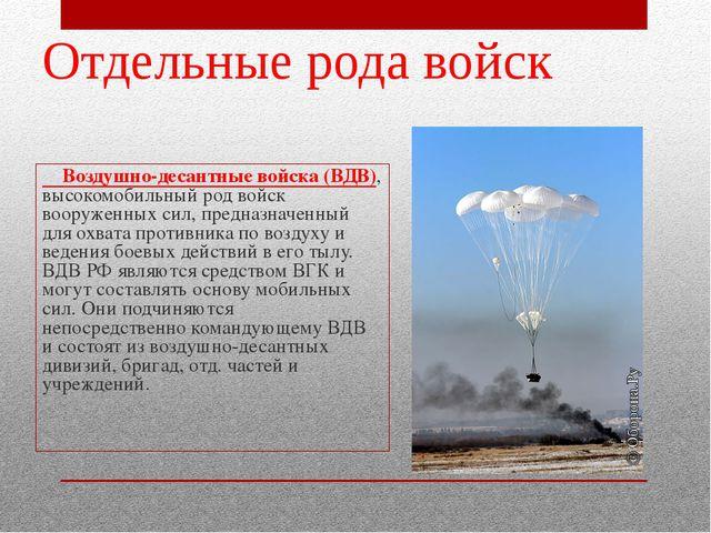 Воздушно-десантные войска (ВДВ), высокомобильный род войск вооруженных сил,...