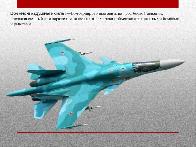 Военно-воздушные силы —Бомбардировочная авиация род боевой авиации, предназн...