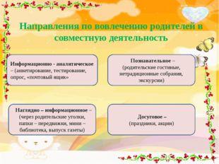 Направления по вовлечению родителей в совместную деятельность Информационно