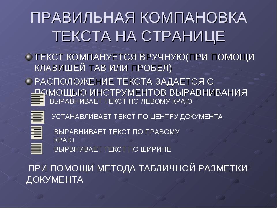 ПРАВИЛЬНАЯ КОМПАНОВКА ТЕКСТА НА СТРАНИЦЕ ТЕКСТ КОМПАНУЕТСЯ ВРУЧНУЮ(ПРИ ПОМОЩИ...